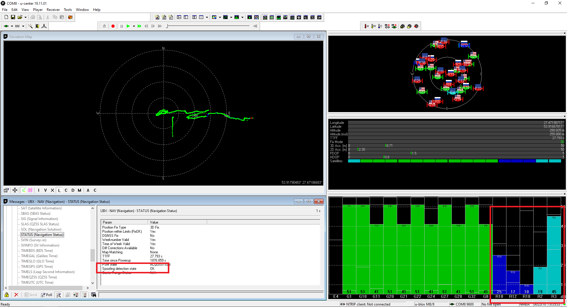 GNSS Satelates After Jammer off