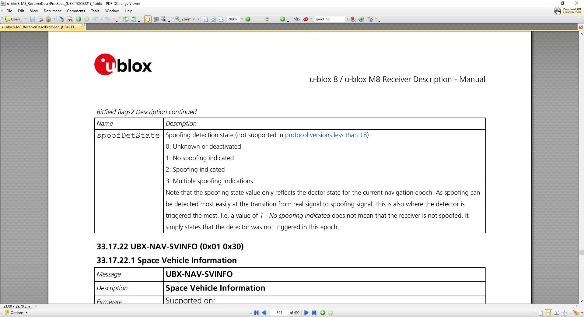 UBLOX GNSS Module Spoofing Flag Description