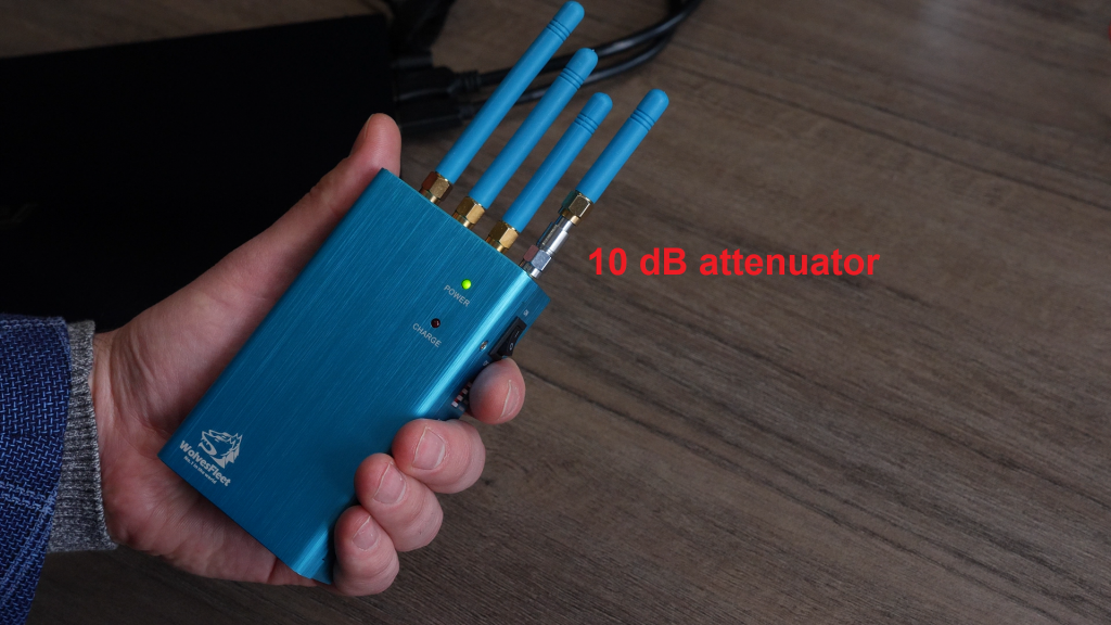 GNSS jammer with attenuator