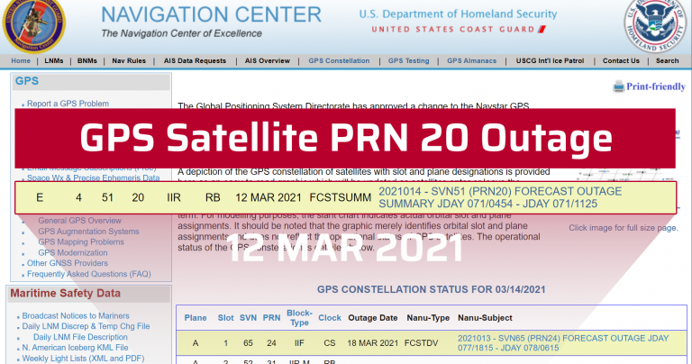 GPS satellite PRN#20 Outage main ico